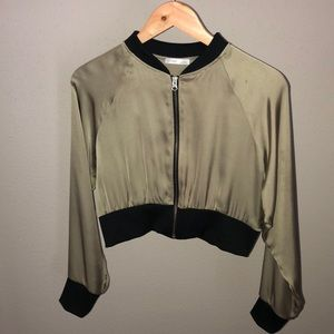 Zara Olive Green Silk Cropped Bomber Jacker